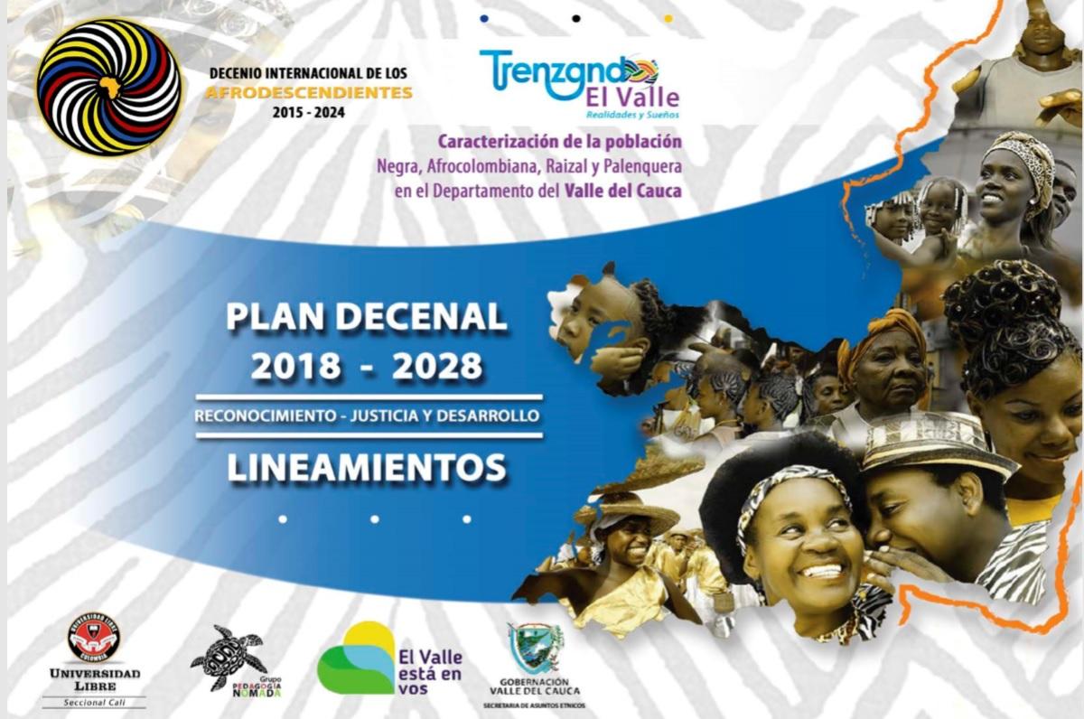 Afiche del Plan Decenal Afro 2018-2028 para el Valle del Cauca