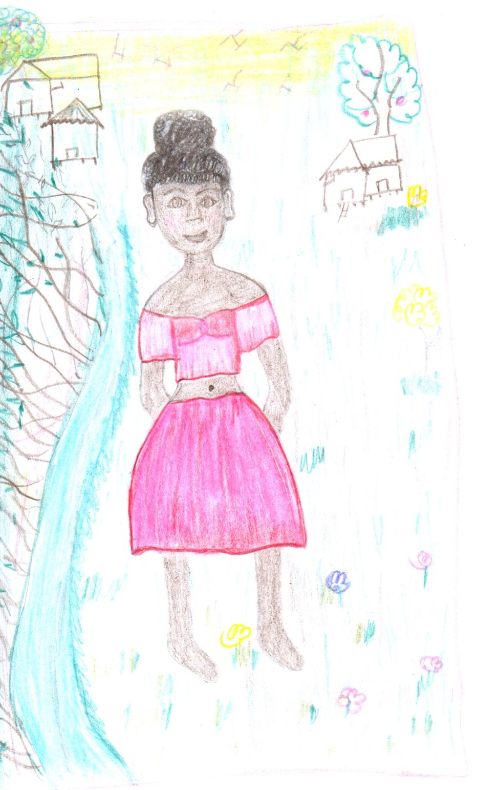 Imagen de la autora de la protagonista del cuento junto al río.