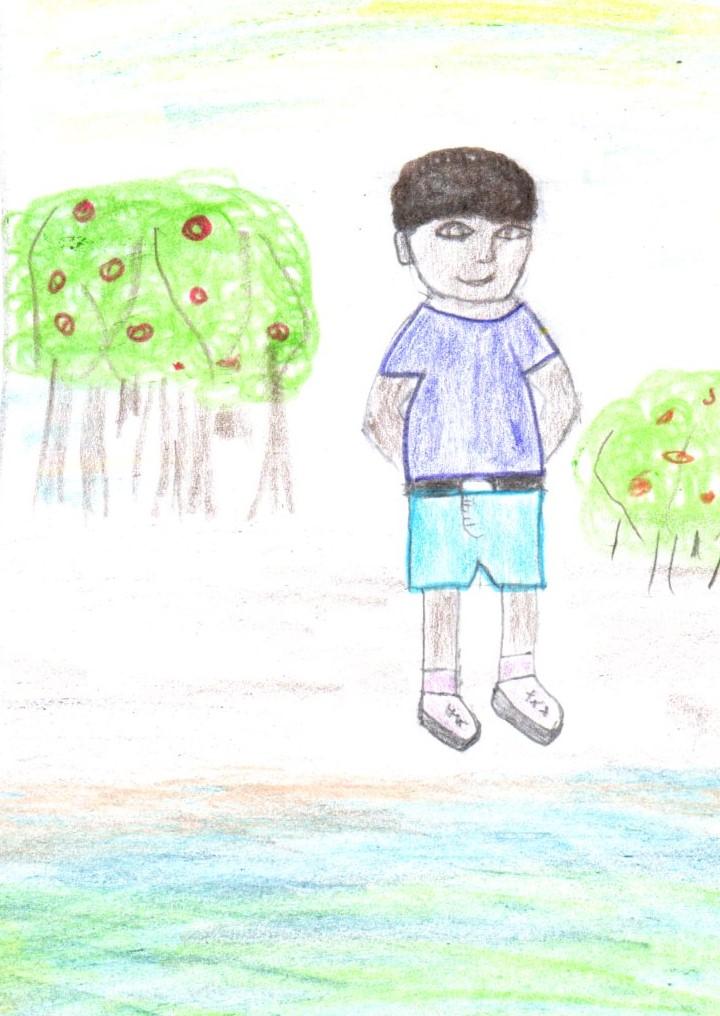Imagen de la autora del protagonista del cuento cerca a la playa.