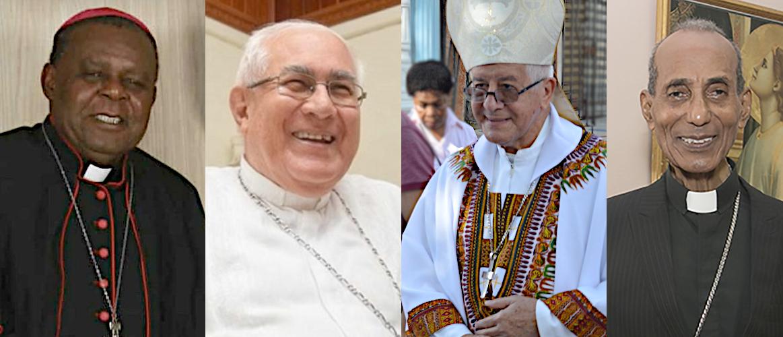 los obispos Uriah Ashley, Luis Piedrahita, Héctor Epalza y Pierre Paulo sonrién para su obiturio