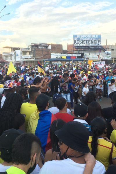Danza en la manifestación del primero de mayo en Puerto Resistencia, antes conocido como Puerto Rellena, en Cali